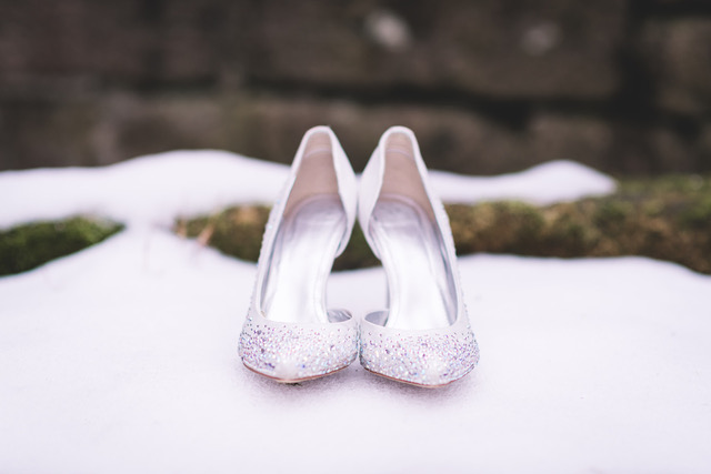 Bridal shoes in the snow
