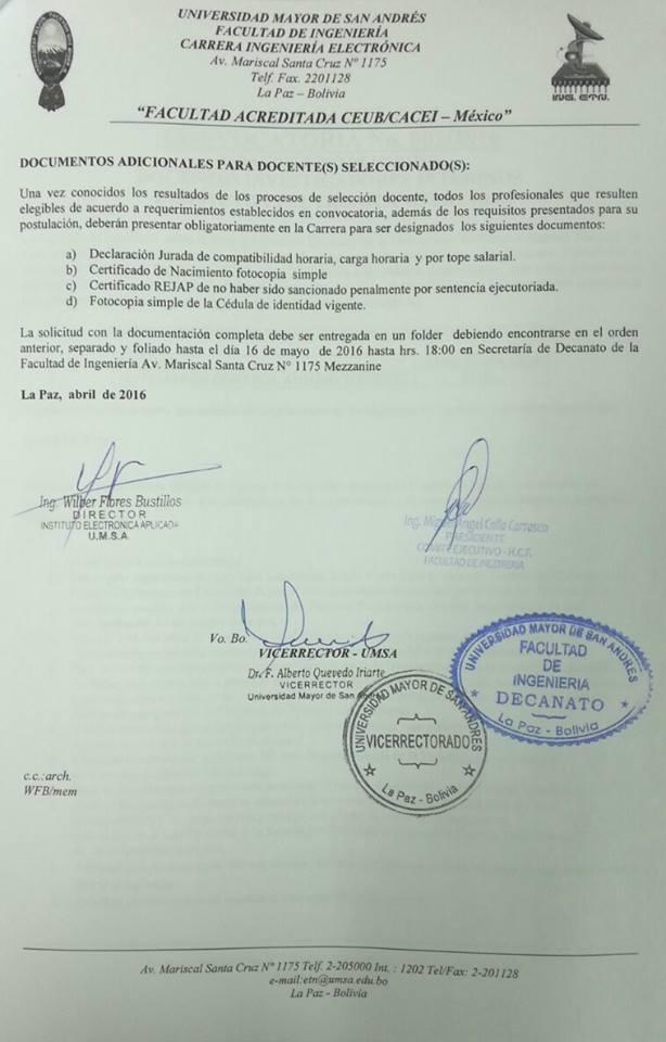 Convocatoria para concurso de meritos docentes for Concurso meritos docentes 2016