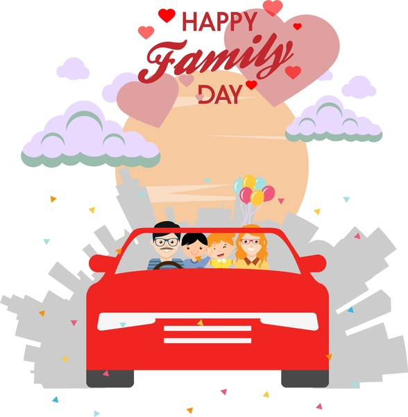 Happy family day theme human in car design Free download vector