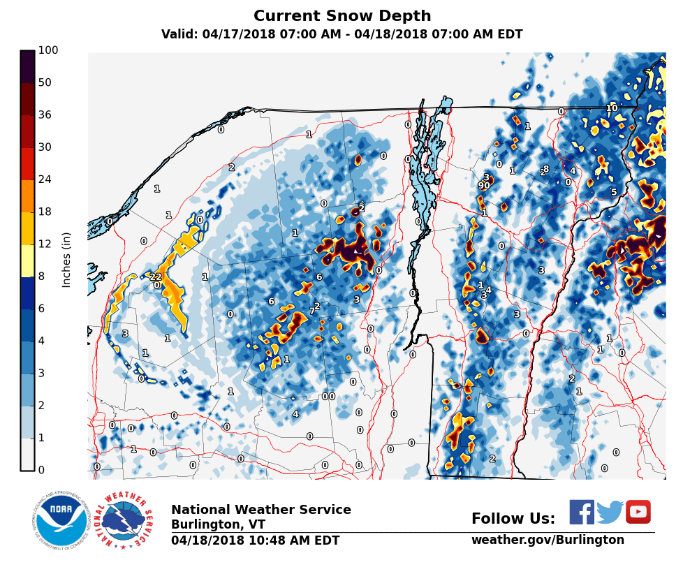 latest snow depth map from the national weather service in south burlington vermont click on it to make it bigger and easier to see