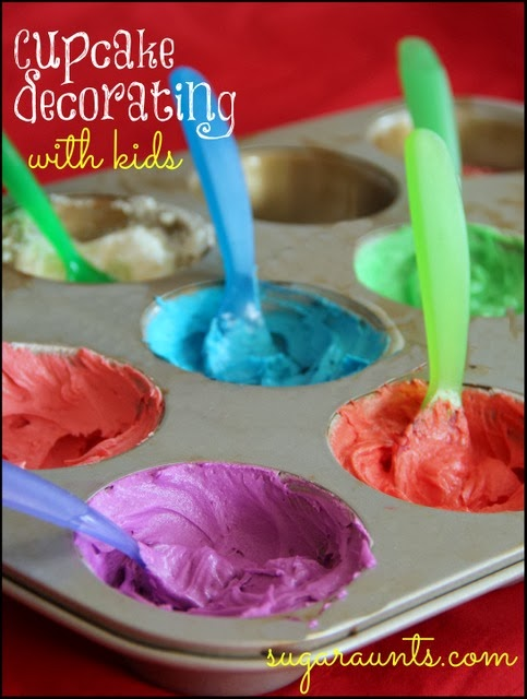 Contain the mess when decorating cupcakes by putting different colored icings into muffin tin sections.