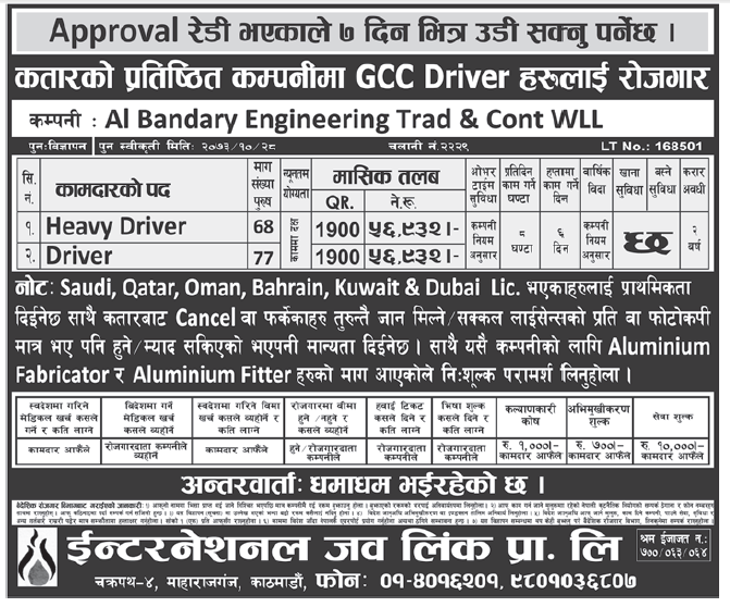 Jobs in Qatar for Nepali, Salary Rs 56,932
