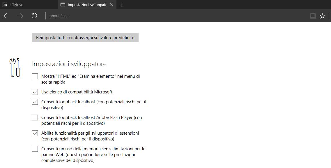 Come aggiungere Estensioni in Microsoft Edge non presenti in Windows Store 2 HTNovo