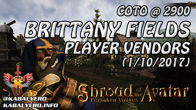 Shroud Of The Avatar Market Watch 💰 COTO @ 2900, Brittany Fields Player Vendors (1/10/2017)