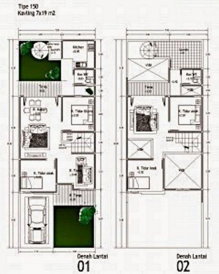 denah rumah tipe 150 minimalis