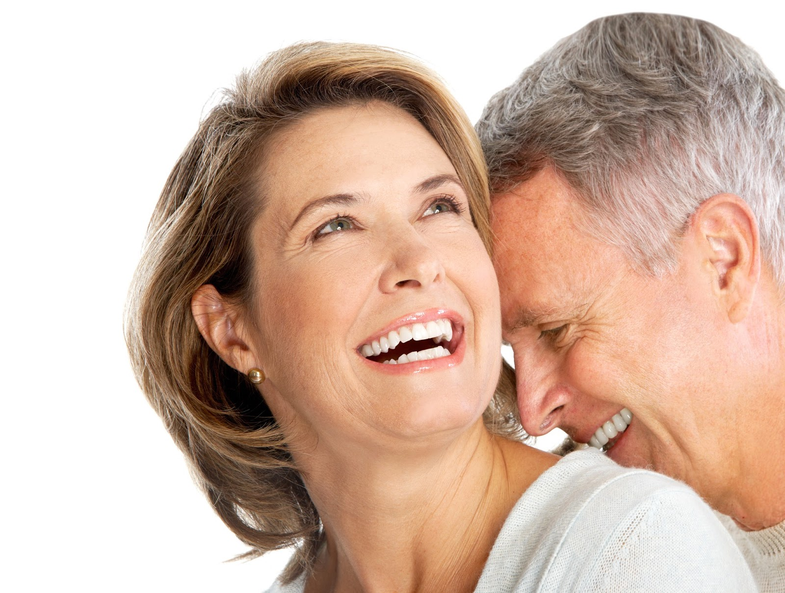 Older man and woman laughing, in love.