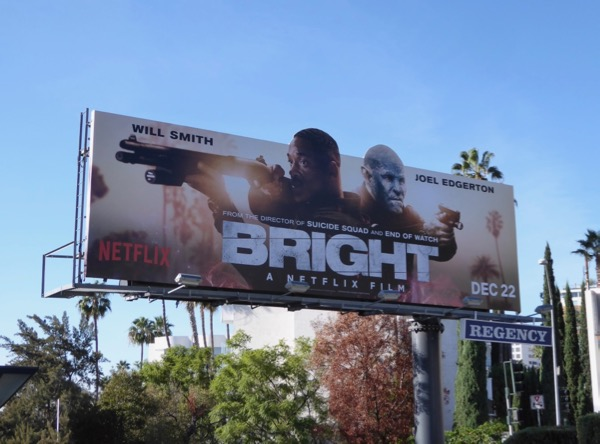 Bright movie billboard