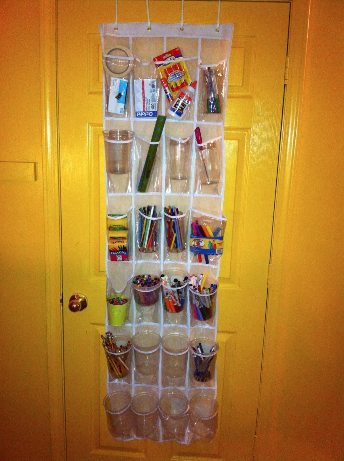 Storing School Supplies In Over The Door Shoe Organizers