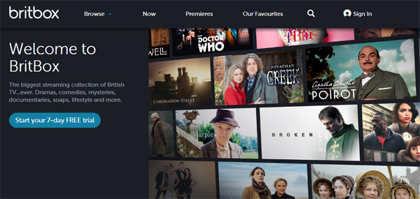 screencap of the front page of BritBox's website