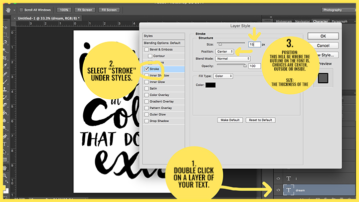 photoshop how to change font clour to foreground colour