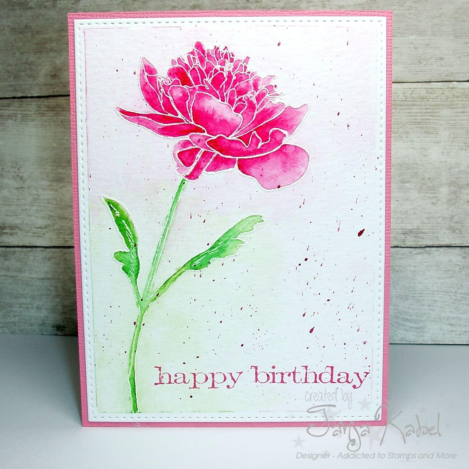 Little Art Cottage Happy Birthday Flower