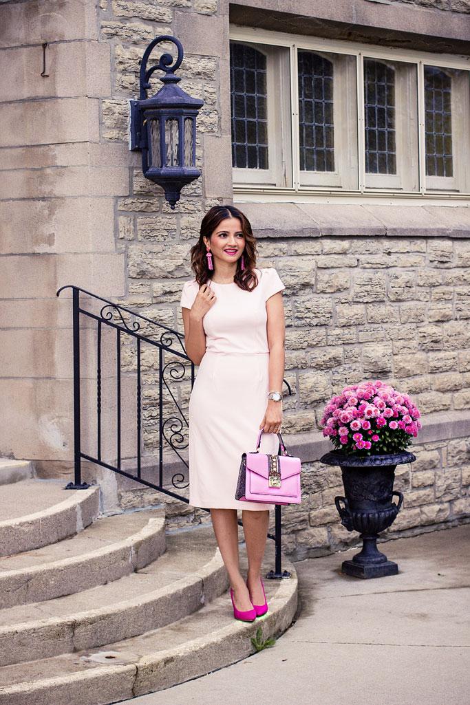Lark & Ro Pink Cap Sleeve Simple Sheath Dress
