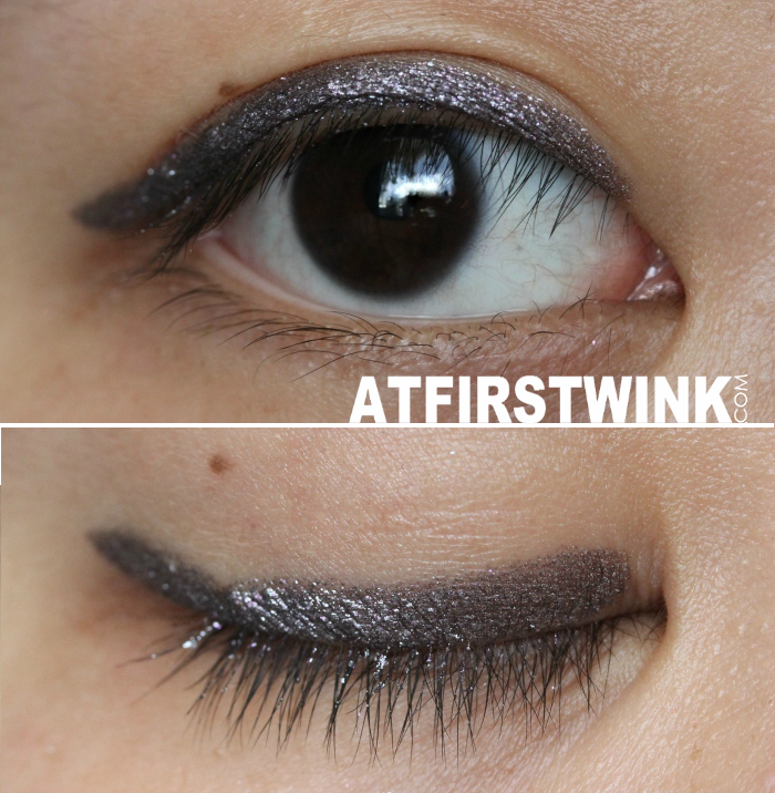 Swatches as eyeliner: GOSH Forever eye shadow metallic eye shadow stick 06 - Plum