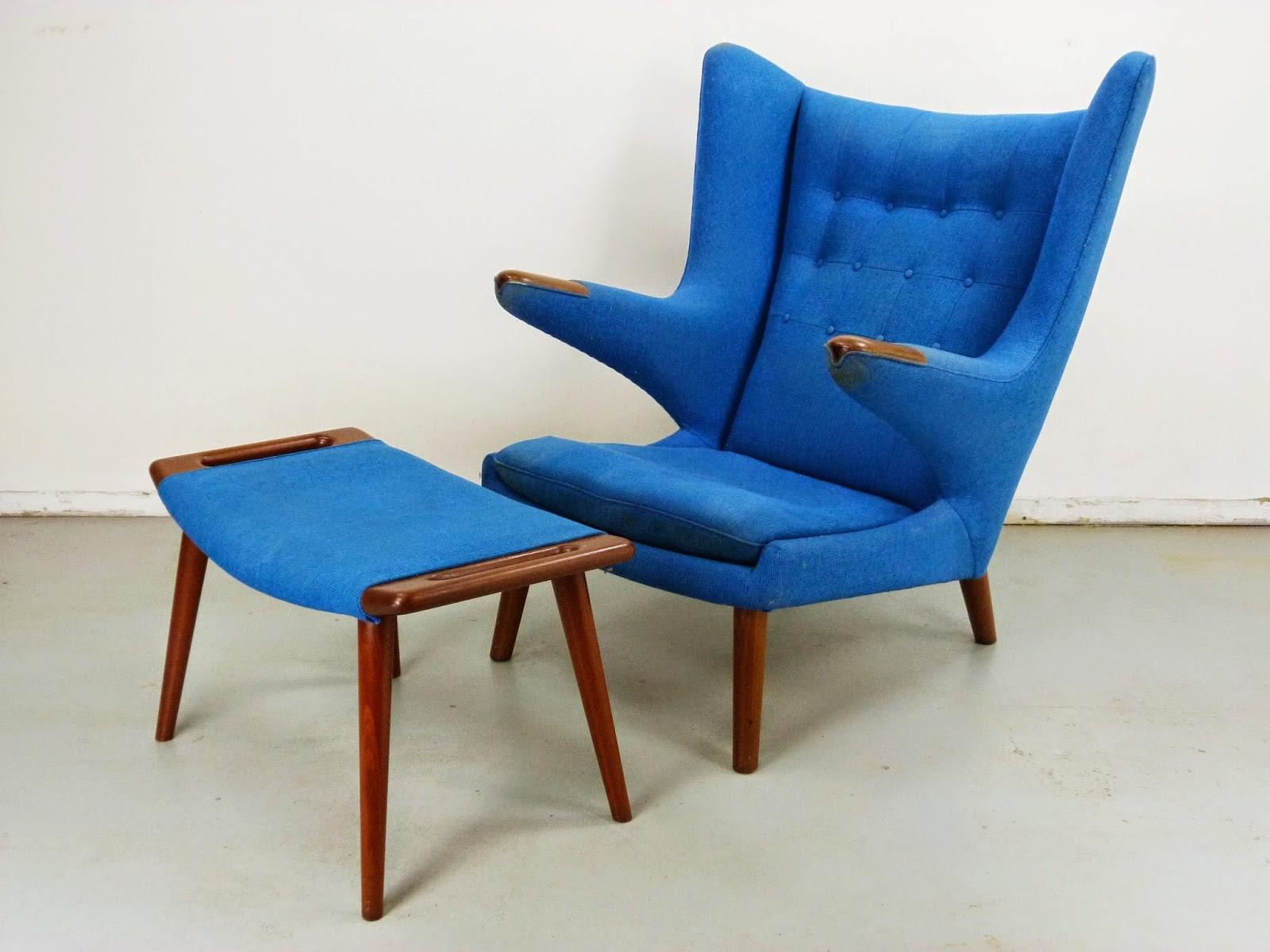 Hans Wegner Papa Bear Chair w/ Ottoman Danish Modern AP-19 AP Stolen