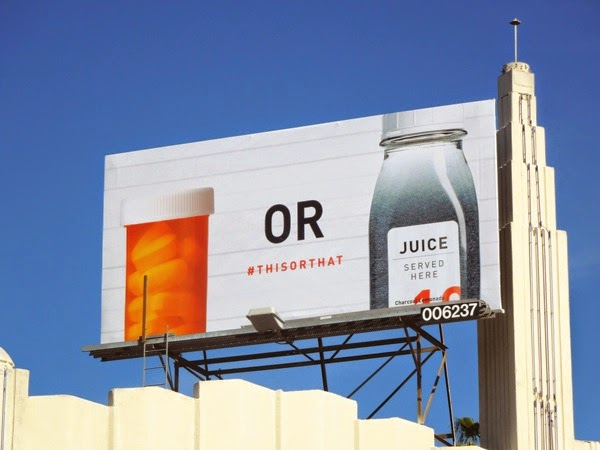 This or That Pills or Juice billboard