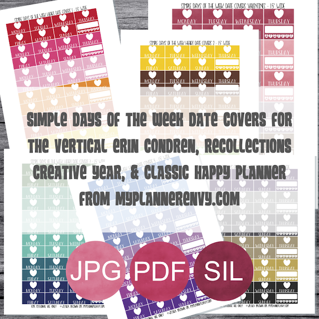 Free Printable Simple Days of the Week Heart Date Covers for the Vertical Erin Condren, Recollections Creative Year, & Classic Happy Planner from myplannerenvy.com. Also available with a Circle instead of a Heart.