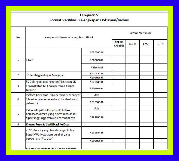 Download Contoh Format Verifikasi Kelengkapan Berkas Calon Sertifikasi 2016 - 2019