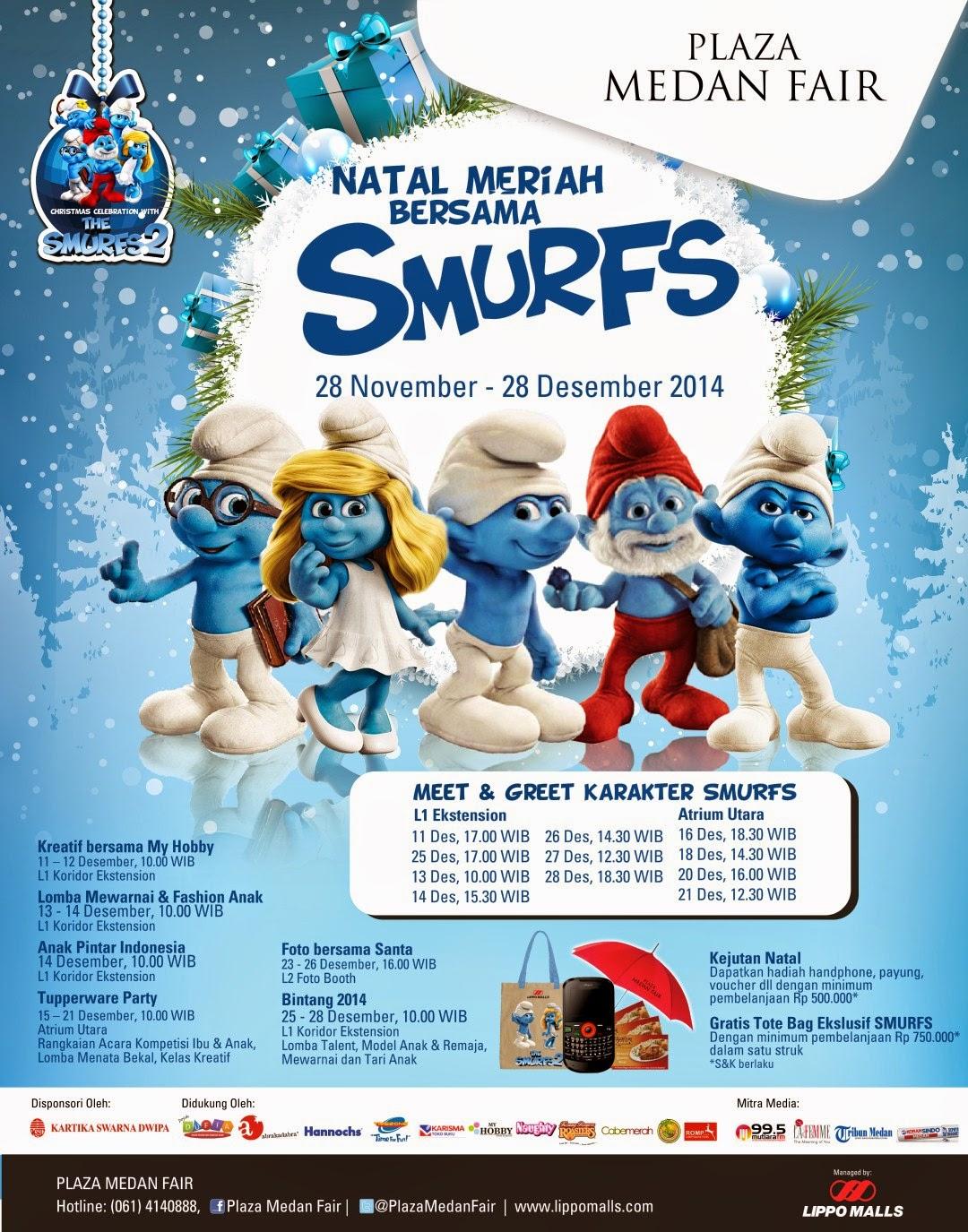Plaza Medan Fair Hadirkan Natal Meriah Bersama Smurfs