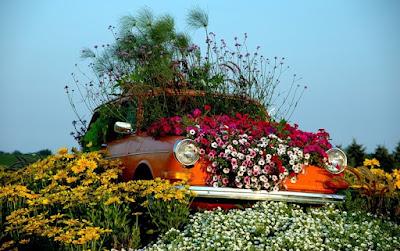 Carro com flores no jardim
