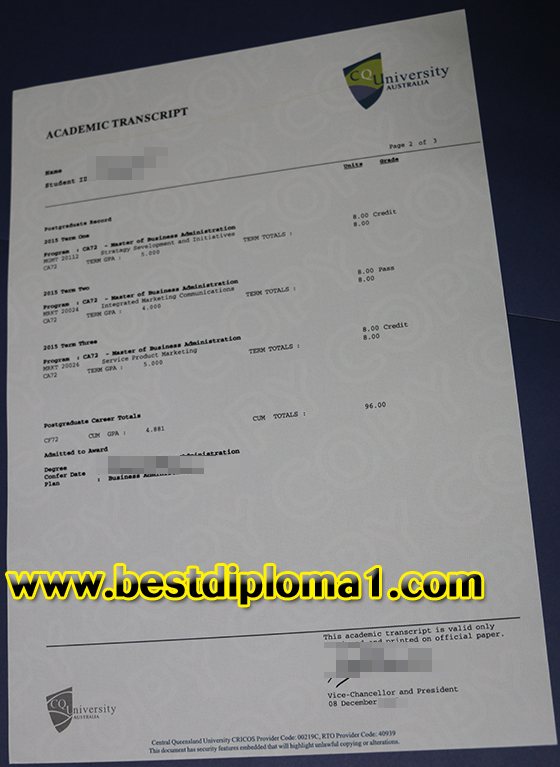 Buy CQU academic transcript