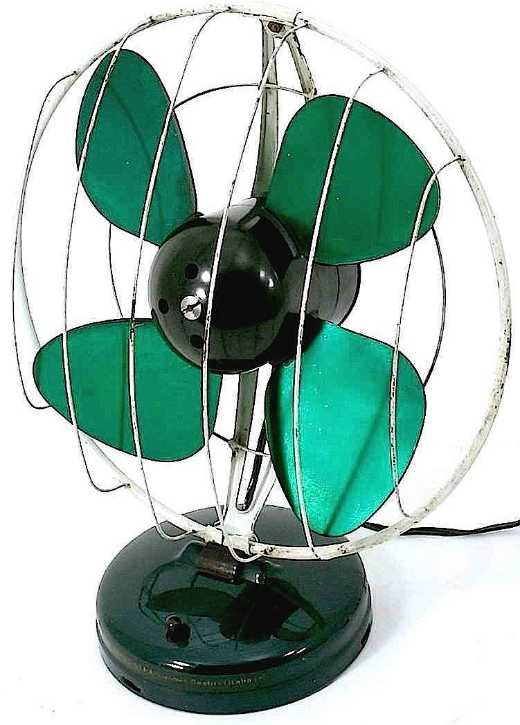 a vintage green table fan photograph