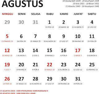kalender agustus 2018