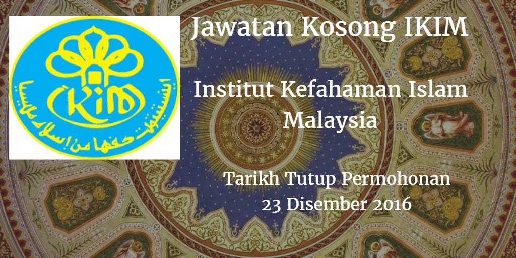 Jawatan Kosong IKIM 23 Disember 2016