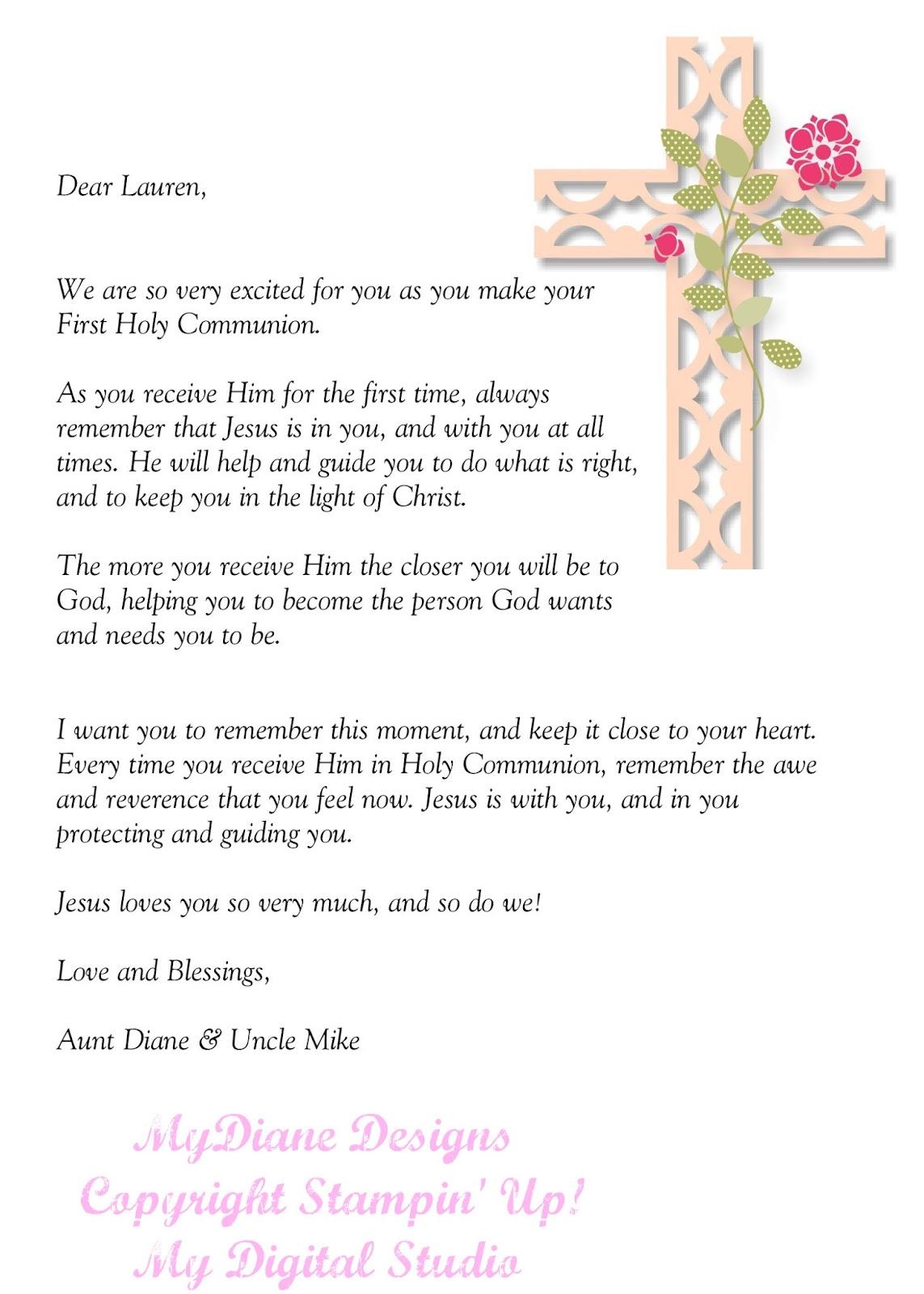 MyDiane Designs: Holy Communion Letter