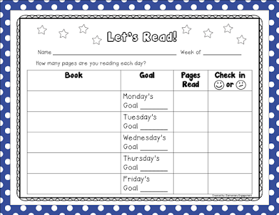 This free reading log helps set and track reading goals.