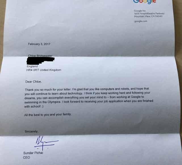 Chloe Bridgewater 7-year-old Girl written letter to Google For Job,CEO Sundar Pichai Replied