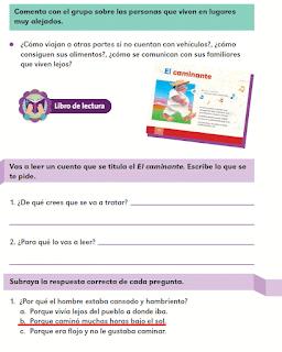 Respuestas Apoyo Primaria Español 2do grado Bloque 3 lección 17 El caminante