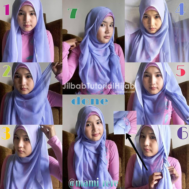 tutorial hijab segi empat untuk wajah lingkaran 6 Tutorial Hijab Segi Empat untuk Wajah Bulat