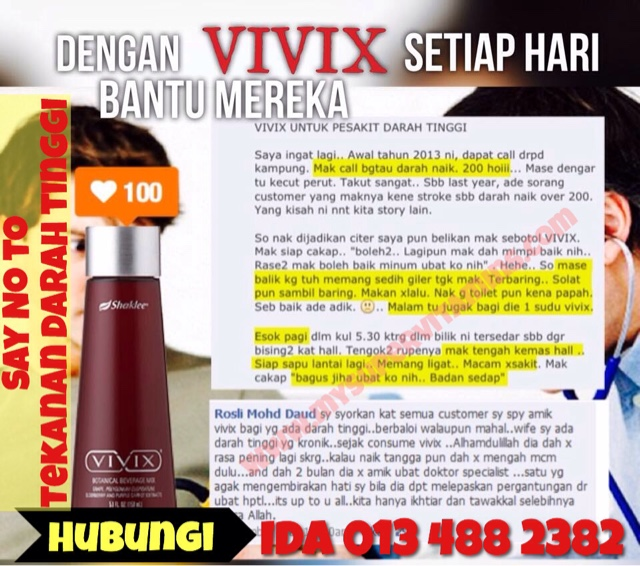 testimonial vivix shaklee untuk kawal tekanan darah tinggi