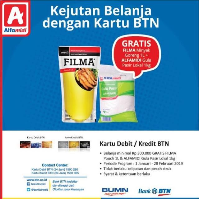 #Alfamidi - #Promo Gratis Minyak Goreng & Gula di Kejutan Belanja Pakai Kartu BTN