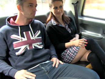 Horny couple get it on in rear of cab – Fake Taxi