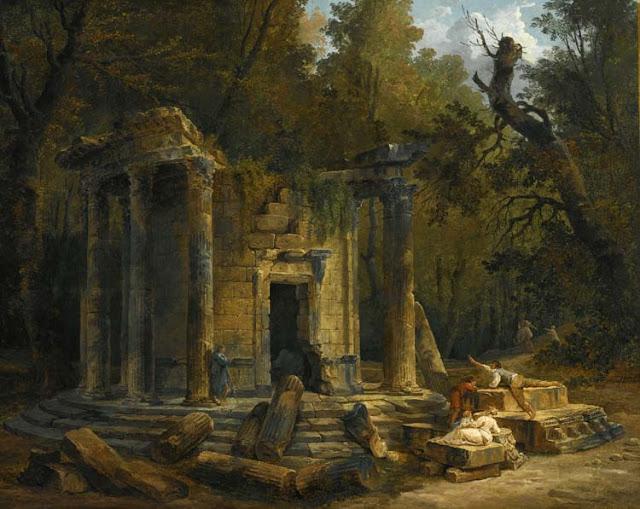 Hubert Robert : Temple de la philosophie à Ermenonville