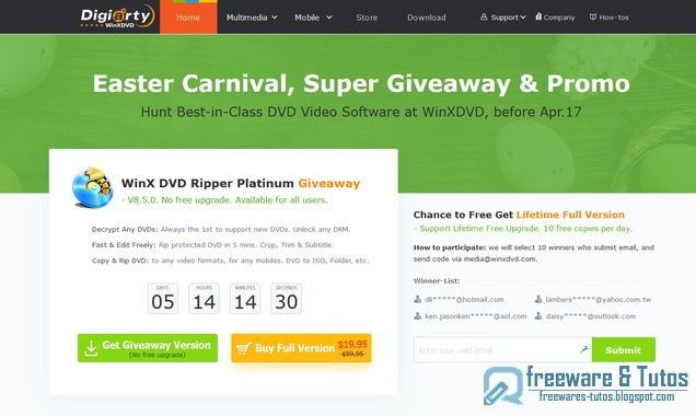Offre promotionnelle : WinX DVD Ripper Platinum gratuit et en français !