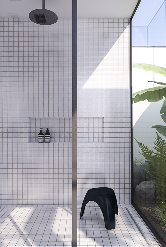 Tropical jungle atrium and double shower | Urban contemporary bathroom. Design by Eleni Psyllaki @myparadissi