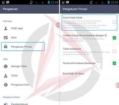 Mengunci Aplikasi LINE Dengan Kode Sandi