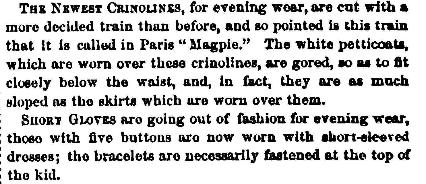 Crinoline description from Peterson's, May 1865.