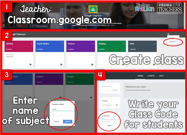 Teacher directions on how to set up Google Classroom