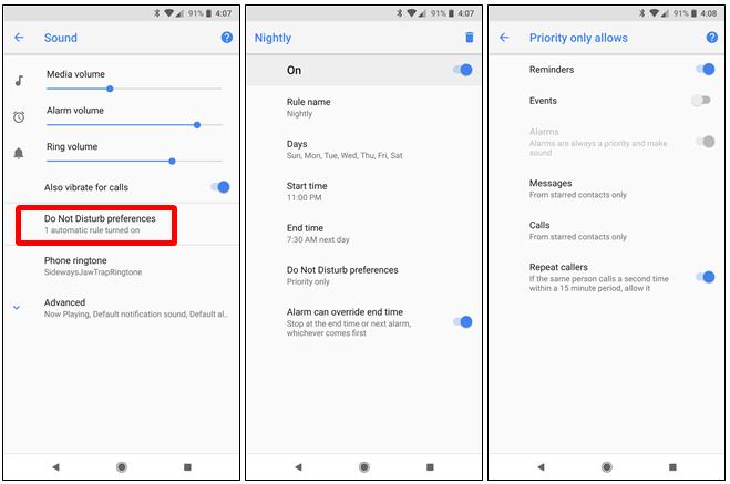 Configurare le impostazioni automatiche Non disturbare Android