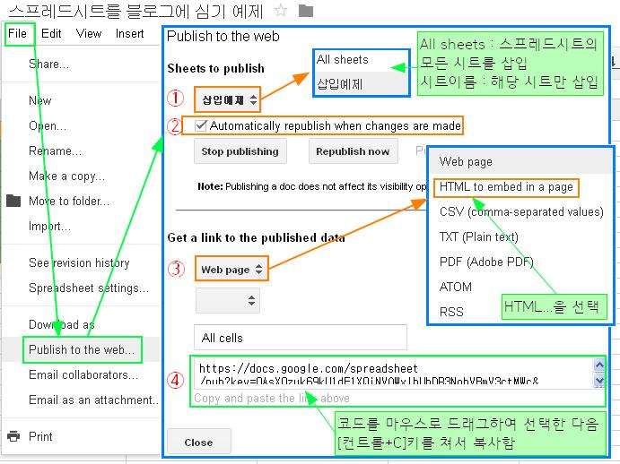 구글블로그 사용법: 구글 드라이버의 스프레드시트를 블로그에 삽입하기