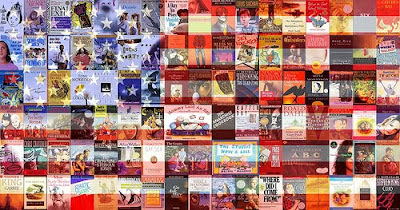 Banned books in shape of American flag