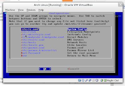AIF configuration screen