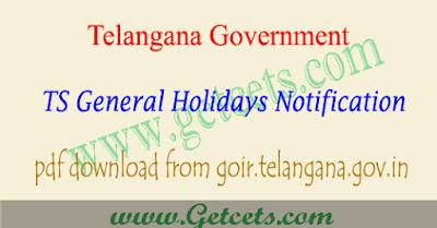 TS Govt holidays 2019-2020 telangana general & optional holidays pdf