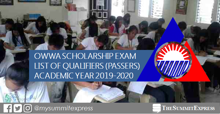 LIST OF PASSERS: OWWA Scholarship Exam Results for AY 2019-2020