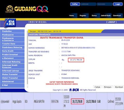 Selamat Kepada Member Setia GudangQQ WD sebesar Rp. 19,173,708.-
