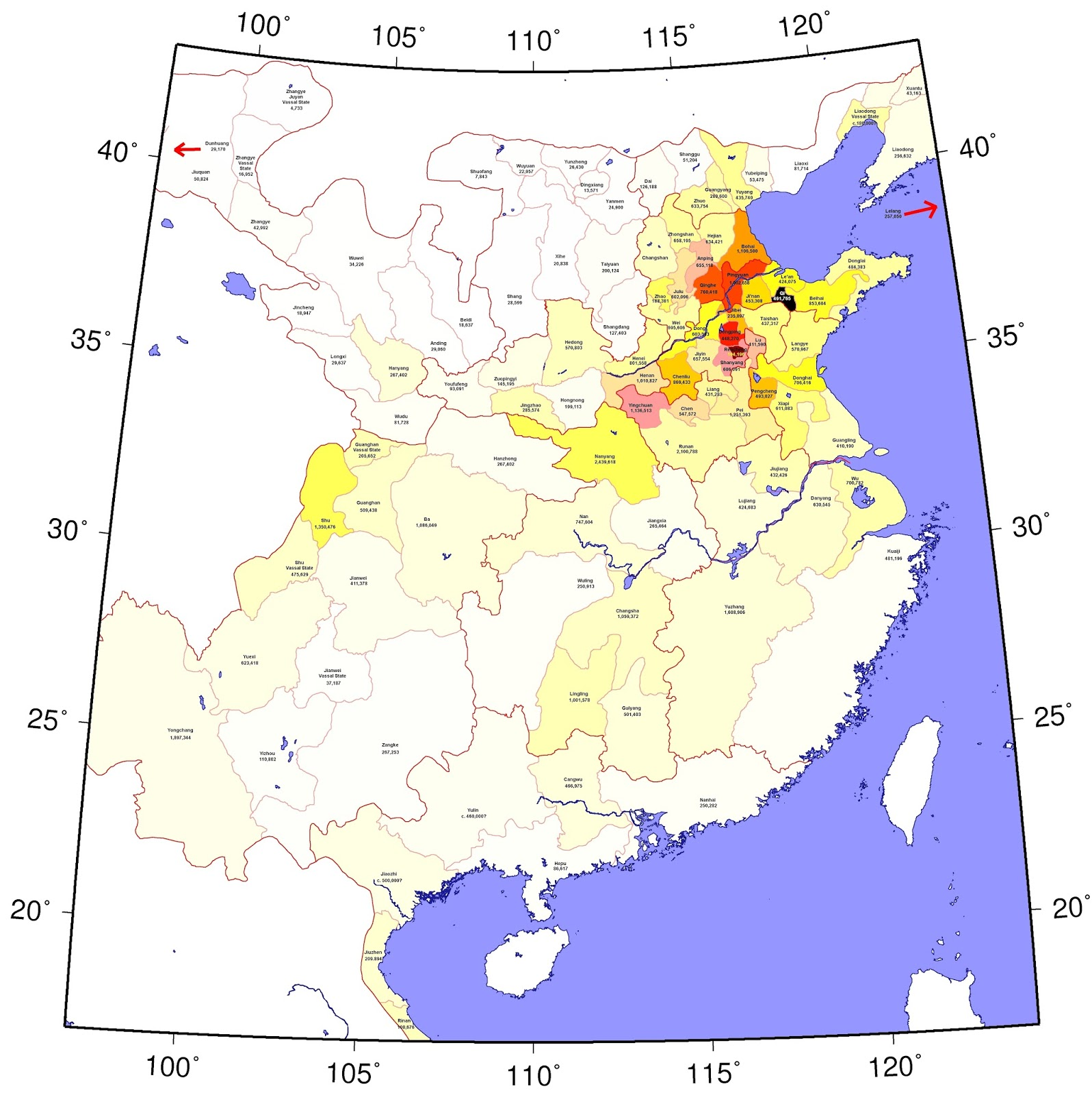 Population map of ancient china per an empire wide census made in 2 population map of ancient china per an empire wide census made in 2 ad gumiabroncs Images