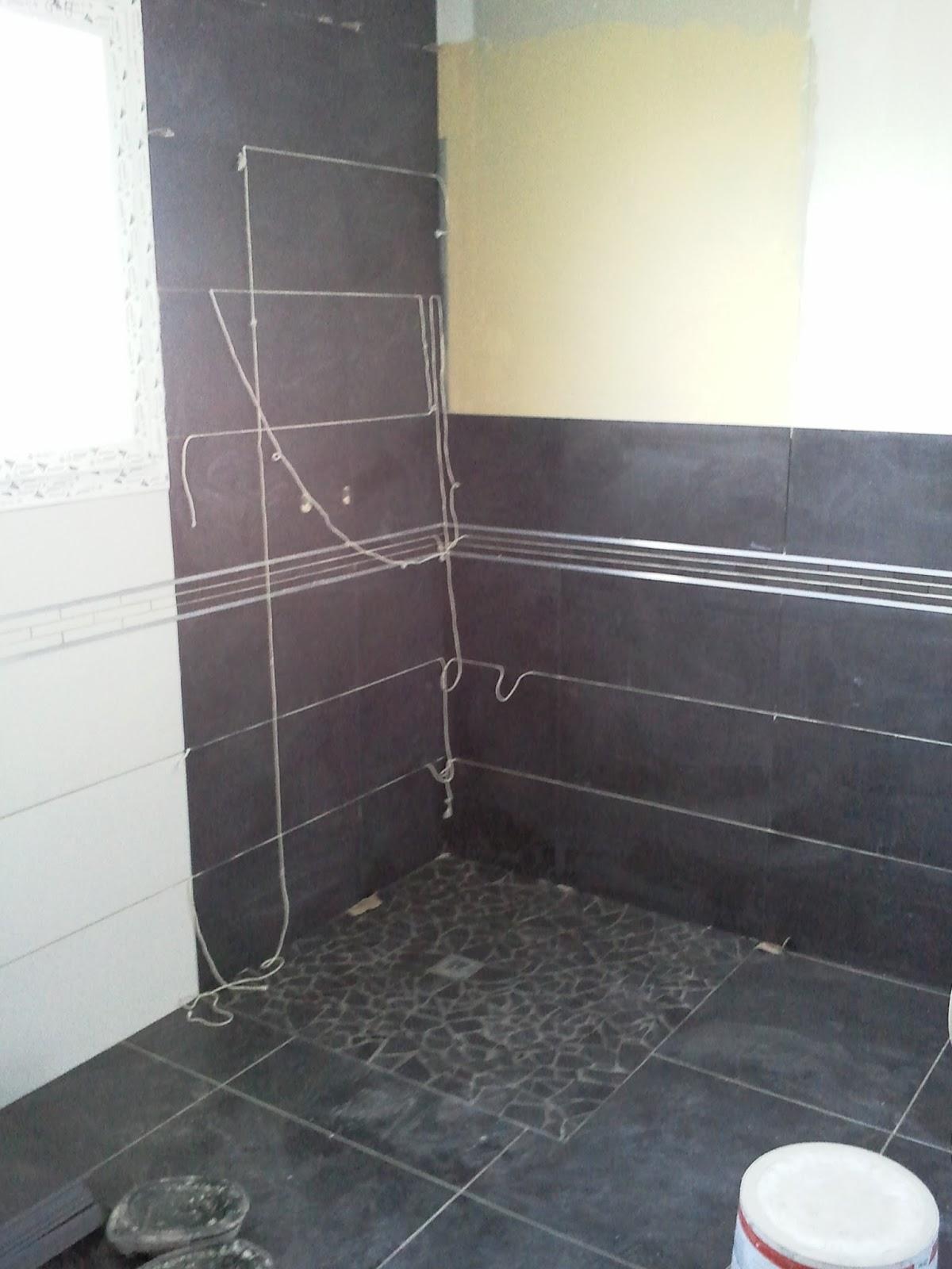 Bricolage de l 39 id e la r alisation salle de bain gris et blanc anthracite noire - Modele salle de bain gris et blanc ...